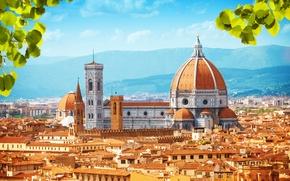 Картинка листья, пейзаж, горы, дома, крыши, Италия, дворец, Florence