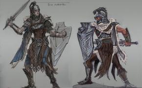 Картинка меч, щит, воины, Skyrim, The Elder Scrolls V