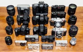 Картинка фон, модели, коллекция, фотоаппараты