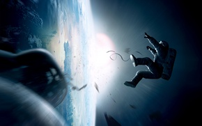 Картинка солнце, космонавт, планета земля, гравитация, Gravity