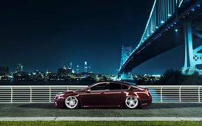 Картинка ночь, мост, город, черная, профиль, Honda, Accord, хонда, акура, Acura, TSX