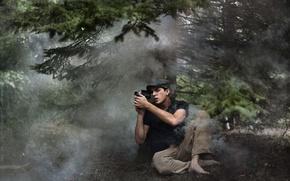 Картинка лес, стиль, фотоапарат, мужчина