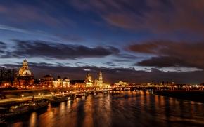 Картинка ночь, огни, река, дома, Германия, Дрезден, театр, Эльба