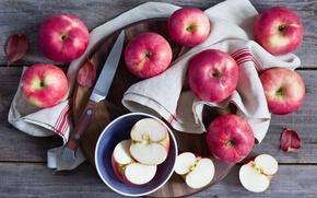 Картинка яблоки, нож, доска, фрукты, салфетка