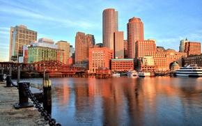 Картинка мост, здания, бухта, порт, набережная, Бостон, Boston, Massachusetts, Массачусетс, Boston Harbor, Бостонская бухта