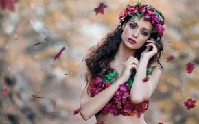 Картинка осень, листья, девушка, венок, Alessandro Di Cicco, Nature Desire