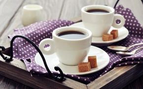 Картинка кубики, кофе, завтрак, молоко, чашки, сахар, салфетка, поднос, ложки