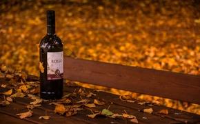 Обои осень, вино, скамья