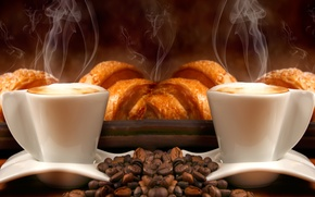 Обои пенка, кофейные зерна, крем, аромат, кофе, трубочки
