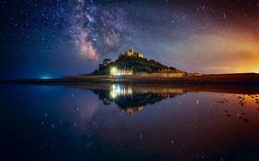 Обои небо, звезды, свет, ночь, огни, дом, гора