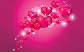 Обои валентин, объем, открытка, сердце, влюбленные, коллаж