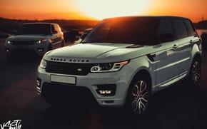 Картинка машина, авто, закат, Land Rover, Range Rover, Sport, Владимир Смит