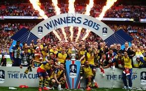 Картинка фон, победа, Арсенал, трибуны, Arsenal, Football Club, канониры, The Gunners, футбольный клуб, 2015, Кубок Англии, ...