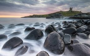 Картинка небо, вода, камни, замок, берег, Castle, Dunstanburgh