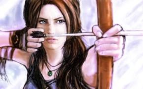 Картинка взгляд, девушка, лицо, оружие, волосы, игра, рисунок, лук, арт, перчатки, стрела, Lara Croft, Tomb raider