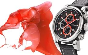Картинка metal, white, black, watch, Jack Pierre, ink red