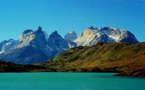 Обои Чили, озеро, горы, Torres del Paine National Park, Торрес-дель-Пайне, скалы