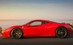 Картинка красный, чёрные, профиль, red, ferrari, феррари, диски, 458 speciale, супорты