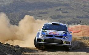 Картинка Volkswagen, Поворот, Занос, WRC, Rally, Ралли, Передок, Polo, Sebastien Ogier, Julien Ingrassia