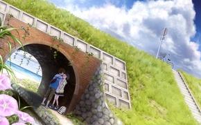 Картинка море, небо, облака, цветы, мост, велосипед, берег, аниме, мальчик, арт, девочка, двое, рюкзак, taka, tsmix
