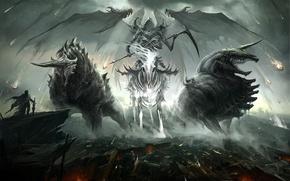 Картинка демон, герой, всадник, руины