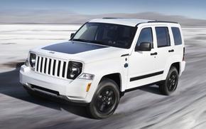 Обои Авто, Белый, Машина, Капот, Фары, Внедорожник, Jeep, Arctic, В Движении, Liberty