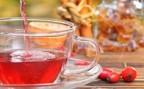 Картинка ягоды, чай, шиповник, кружка, напиток, блюдце