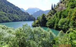 Картинка природа, красота, озеро Рица