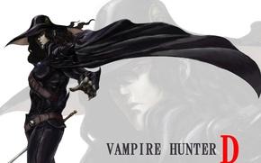 Картинка поза, меч, шляпа, вампир, жест, охотник, art, ремни, черный плащ, Vampire Hunter D, Saito Takaki