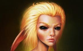 Картинка глаза, взгляд, девушка, аниме, арт, блондинка, уши, fan art, Pikachu