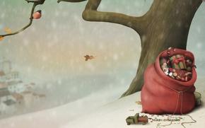 Обои снег, дерево, настроение, праздник, игрушки, вектор, птичка, мешок, снегирь, праздники, новогодние обои, рождественские обои, праздничные ...