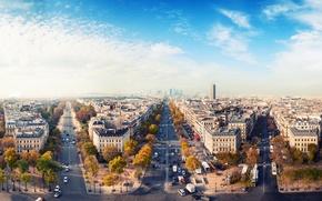 Картинка осень, небо, город, дороги, париж, дома, франция