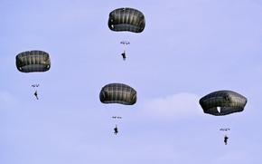 Обои Training Area, U.S. Army Soldiers, T-11 parachutes