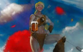 Картинка небо, женщина, пиво, воин, стрела, варвар, bad ass
