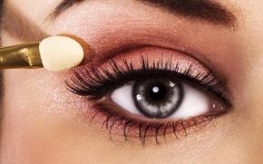 Обои макро, глаз, beautiful eye, Make-up, ресницы, тени, макияж, фото