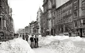 Обои ретро, 1905-йгод, снег, зима, улица, США, Нью-Йорк