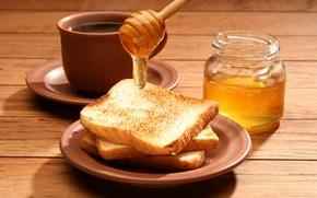 Картинка чай, кофе, еда, завтрак, мед, чашка, банка, вкусно, тосты