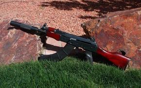 Картинка оружие, камни, Ак-74, Калашникова, трава, автомат