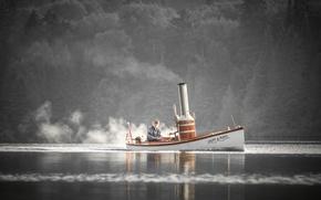 Картинка река, лодка, собака, старик, паровая лодка