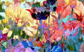Картинка поле, листья, цветы, рендеринг, лепестки, луг