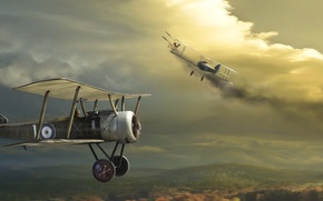 Картинка небо, Самолет, биплан