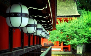 Картинка деревья, Япония, фонари, храм, Japan