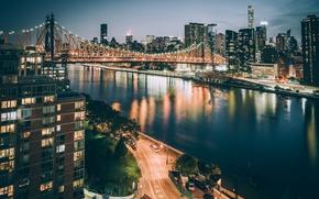 Обои ночь, мост, город, огни, США, Нью Йорк