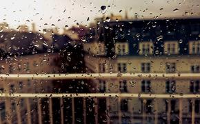 Обои капли, дождь, город, мокрое, окно, стекло, осень