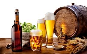 Обои пена, стол, бутылка, пиво, кружка, стаканы, колосья, блюдце, бочонок, краник
