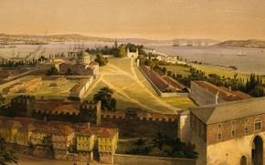 Обои картина, Стамбул, Турция, панорама, Босфор, пейзаж