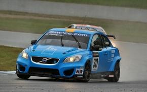 Картинка голубой, Volvo, Race, WTCC, C30, Robert Dalgren