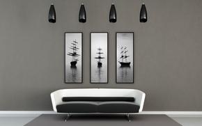 Картинка дизайн, стиль, комната, диван, корабль, интерьер, картины, квартира