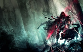 Картинка арт, волк, мужчина, красные глаза, меч, perzo, копье, жуть, лес