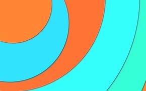 Картинка круги, оранжевый, голубой, геометрия, design, material